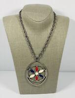 Vintage Necklace Silver Tone Chain & Huge Flower Pendant Fun Costume Jewellery