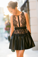 $338 BCBG MaxAzria Layton Black Lace Faux Leather Cocktail Dress Size 12 Large L