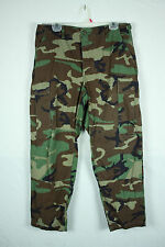 Vintage Army BDU Uniform Rip Stop Pants Fatigue Woodland Camo Med Short 34W 29L