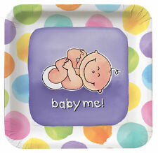 Baby Me 18 Paper Plates (10in x10in) Baby Showers New Born Lunch Dinner Party
