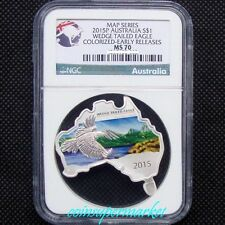 2015P Australia Map Shaped Series Eagle 1oz Silver Colorized Coin NGC MS70