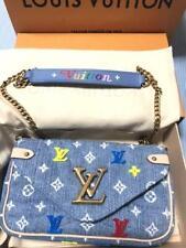LOUIS VUITTON Pochette Chain Bag Wallet Pouch Denim Monogram Embroidery Auth New