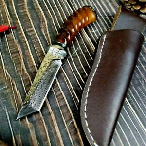 Handmade Tanto Knife Fixed Blade Hunting Combat Tactical Forged Damascus Steel S