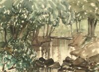 Myles Tonks RI RBA, Woodland Water – Early 20th-century watercolour painting
