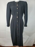 Ms Chaus Size 12 Black Dress Midi Gold Button Down Long Sleeve Pleated