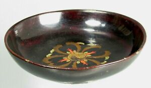 Korea Korean lacquer Bowl w/ Ying Yang Polychrome Decoration ca. early 20th c.