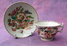 Hilditch type cup and saucer, transfer print overglaze enamelled c1815-30