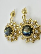 Byzantine Revival Labradorite & Cultured Pearl Earrings 22K Gold Overlay, New