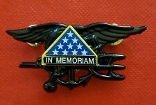 US Navy SEAL Special Warfare Team Trident IN MEMORIAM BLACK FUNERAL Badge Pin
