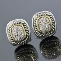 Vintage David Yurman Sterling Silver18K Yellow Gold Pave Diamond Albion Earrings