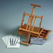 Acrylic Table Top Art Artist Easel Paint Set Kit | with Brushes & Canvas Panels!