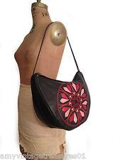 DKNY Black Genuine Leather Shoulder Hobo Bag w Red/ Pink Patched  front