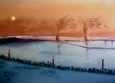 "Superbe original martin davis ""hiver dawn"" neige peinture de paysage"
