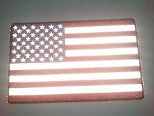 "(B28) REFLECTIVE AMERICAN FLAG 10"" x 6.25"" iron on Back patch (3008) Biker Vest"