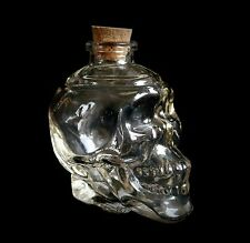 Clear Glass Skull Potion Bottle  Wicca Pagan Witchcraft Yule Samhain Gift