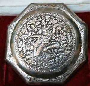 ancienne boite a poudre a décor asiatique en argent 900 dans son coffret