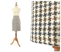 Size M Vintage brown houndstooth pencil skirt thanksgiving fall color plaid