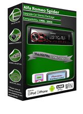 Alfa Romeo Spider car radio, Pioneer stereo USB AUX, iPod iPhone Android player