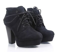 """Black Faux Suede Lace Up Cuban 4"""" High Heel Booties Womens Ankle Boots Size 10"""