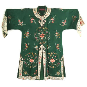 Vintage 1920s Chinese Green Silk Embroidered Robe