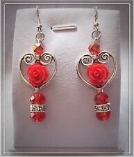 HANDMADE 925 STERLING SILVER HOOK SWAROVSKI CRYSTAL BEADED DANGLING EARRINGS