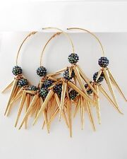 "NEW CHUNKY HUGE Spikes & Meridian Blue Resin Pave Balls 3 1/2"" Hoop Earrings"