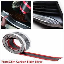 7cmx2.5m Carbon Fiber Silver Car Bumper Door Sill Pedal Scuff Protector Strip