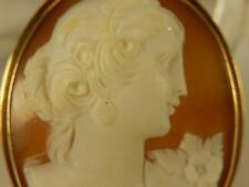 Antique 14k CAMEO PIN or PENDANT Lady With EARRINGS & CORSAGE Art Nouveau Shell