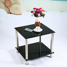 Small Black Square Steel Glass Coffee End Table Living Room Furniture Set Decor