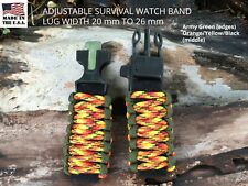 20 22 24 25 Two Tone Green Orange Adjustable Survival Paracord Watch Band