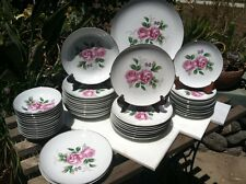 52 Pieces Of Willow China, Pink Rose Pattern.Platinum Highlights from Japan