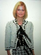 CHANEL 05P MOST WANTED LESAGE TWEED LACE White Black RIBBON SEQUINS Jacket FR38