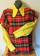 Vtg Women's Poncho 1960s-70s Plaid Fringe and Yellow Button Down Limited Edition