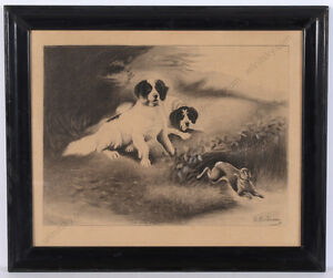 """Charles-Fernand de Condamy """"Hunting dogs and hare"""", large drawing, late 19th c."""
