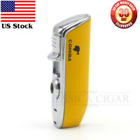 COHIBA Cigar lighter 3 Torch JET Flame Cigarette Lighter With Cigar Punch Yellow