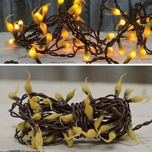 50 Teeny Fairy Rice Light Strand Silicone dipped Bulbs Grubby 11' BROWN Elec