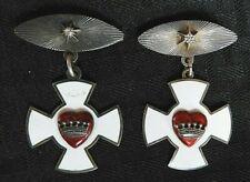 (2) Enamel Sterling Silver Odd Fellows IOOF KNIGHTS TEMPLAR WHITE CROSS Medals