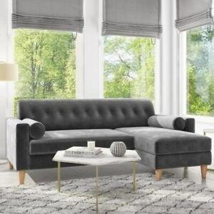 Idris Grey Velvet Corner Sofa with Bolster Cushions