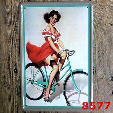 Metal Tin Sign RIDING BIKE SEXY  Decor Bar Pub Home Vintage Retro Poster Cafe