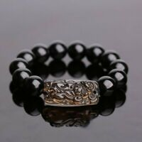 Chinese Feng Shui Obsidian Pi Xiu Bracelet Bead Wealth Luck Stretch Wristband