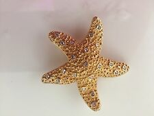 SWAROVSKI SWAN Textured Gold Tone CRYSTAL STARFISH Pin Brooch