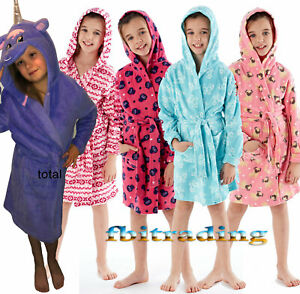 kids girls dressing gown robe hooded  polar fleece gowns pug owl