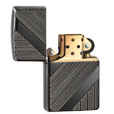 Zippo 29422, Armor, Coils, Deep Carved, Black Ice Finish Lighter, Full Size