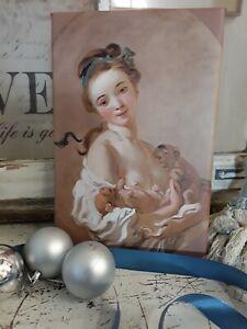 Leinwanddruck nach einem antiken Gemälde, Mädchen mit Hunden ,Rokoko, Louis XVI