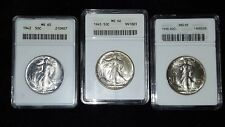 LOT OF (3) WALKING LIBERTY HALF DOLLARS - MS65/65/66