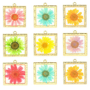 2Pcs Sunflower Dried Flower Resin Charms Pendant DIY Craft Findings Accessories