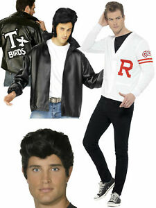 Mens Official Grease Jacket Wig T-Birds Adults 50's Danny Fancy Dress Costume