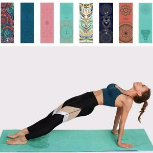 Yoga Exercise Mat Foam Non-Slip Pilates Mandala Pattern Strap With S3G6