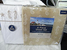 New 6 piece  Seahorses + Starfish King size bed sheets set + 4 pillowcases    H2