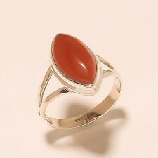 4.30 Gm Natural Red Onyx Ring Gemstone 925 Solid Sterling Silver Size 9 K-825